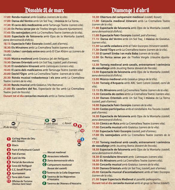 Fira Medieval Hostalric - Programa activitats Dissabe i diumenge