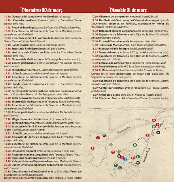 Fira Medieval Hostalric - Programa activitats divendres