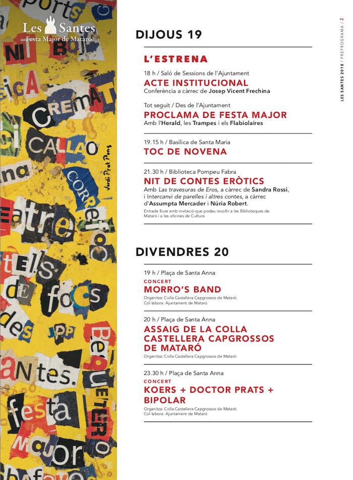 Programa Les Santes de Mataró 2018 - Dijous 19 de Juliol