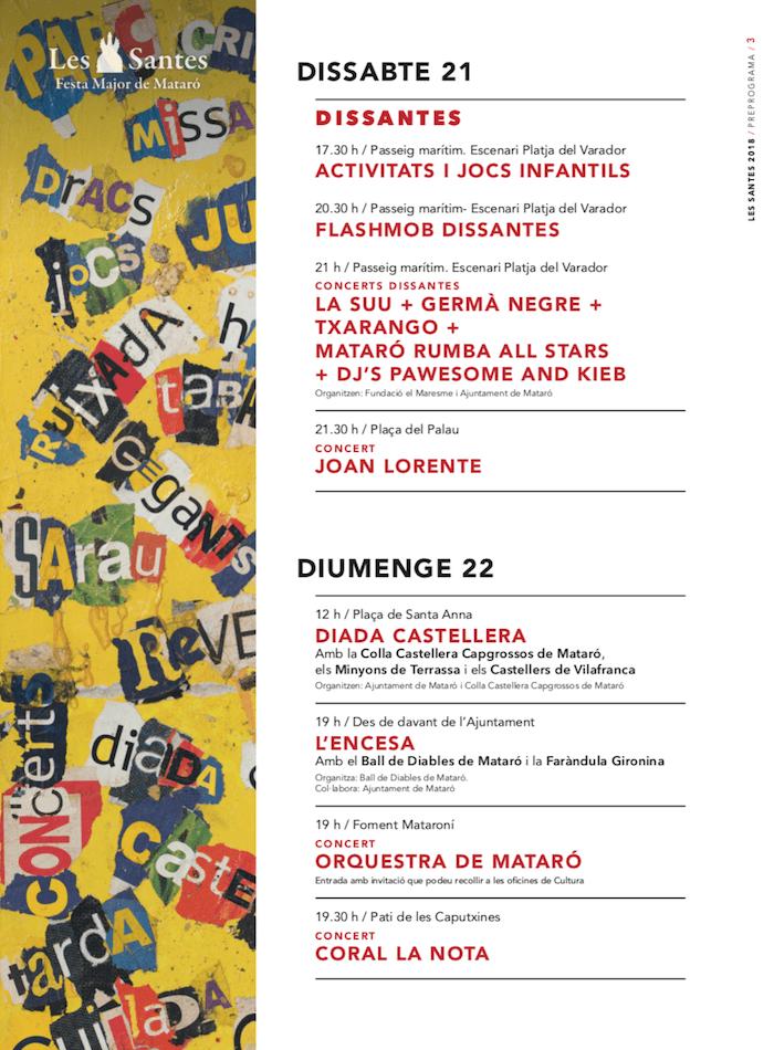 Les Santes de Mataró Programa 2018