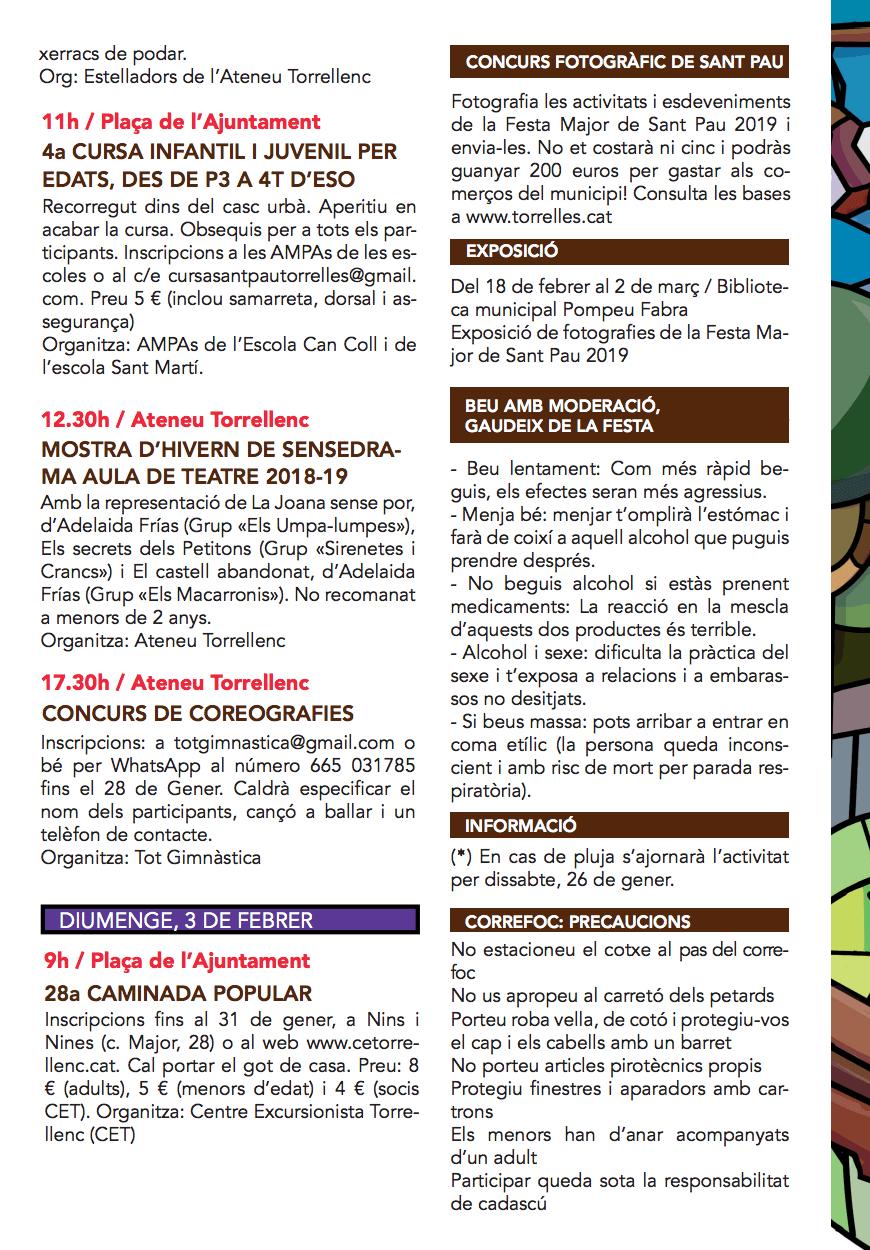 Festa Major de Sant Pau de Torrelles de Llobregat 2019 - Programa d'activitats 4
