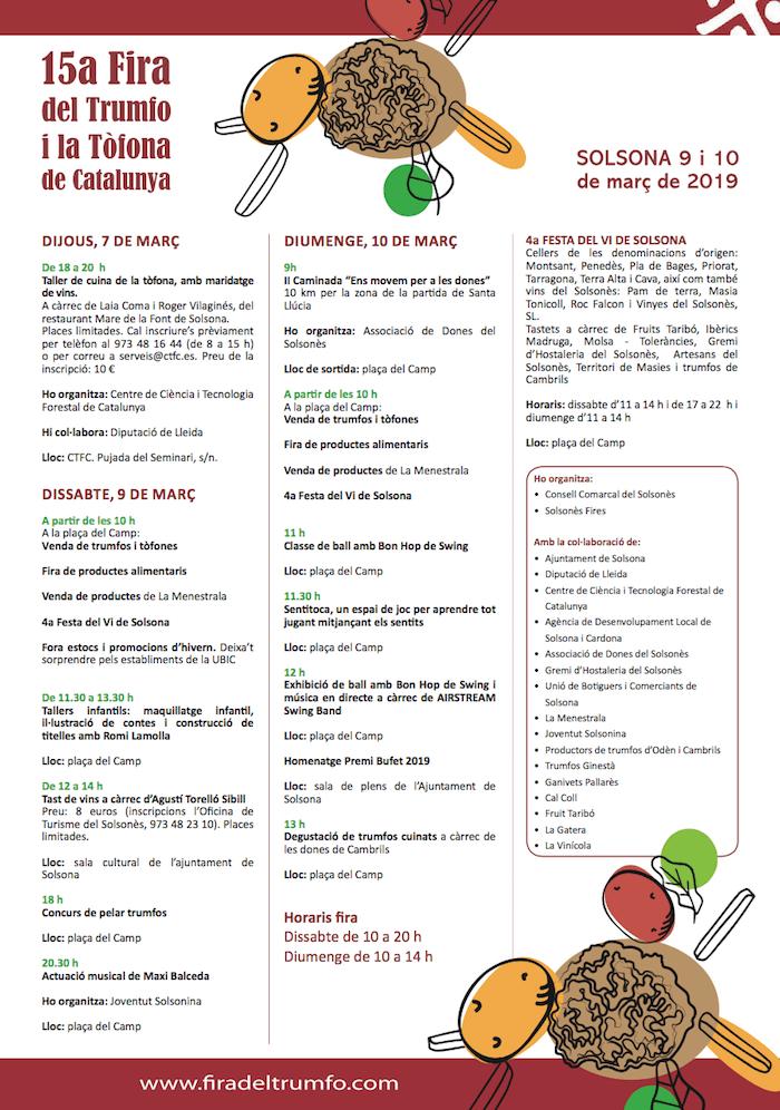 FIRA DEL TRUMFO I LA TÒFONA DE CATALUNYA - PROGRAMA 2019