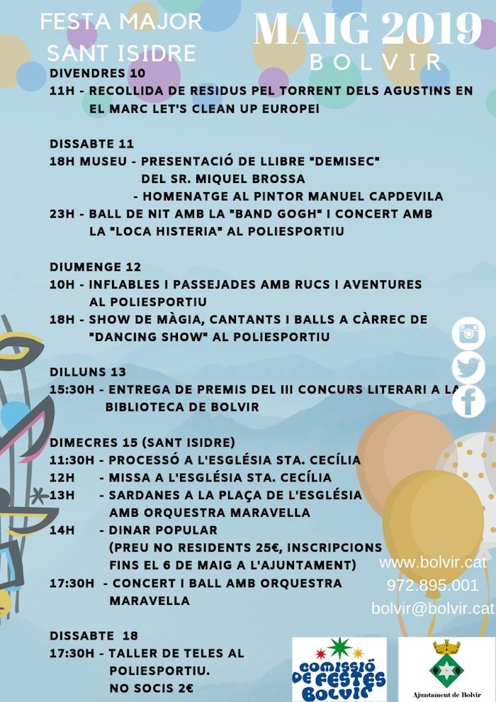 Festa Major de Sant Isidre a Bolvir- Que fer aquest cap de setmana