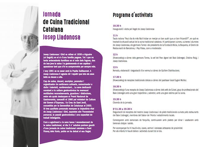 JOSEP LLADONOSA -JORNADA DE CUINA TRADICIONAL CATALANA JOSEP LLADONOSA - JOSEP LLADONOSA - QUE FER AQUEST CAP DE SETMANA