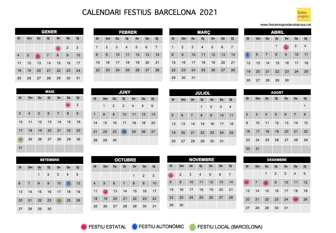 CALENDARI LABORAL 2021 BARCELONA - CALENDARI LABORAL 2021