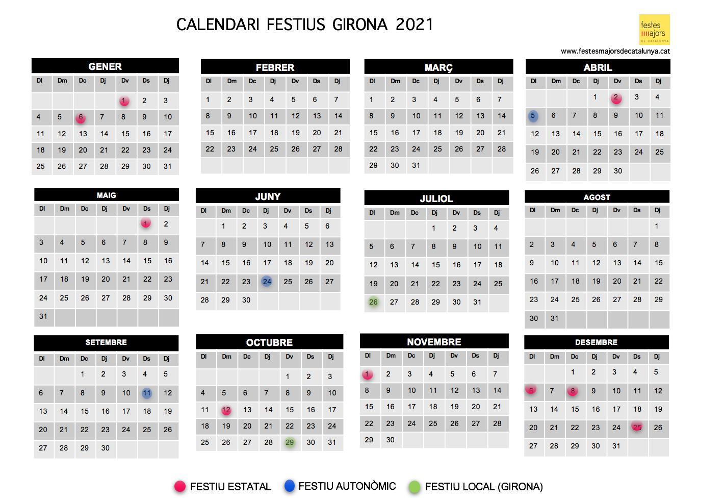 CALENDARI LABORAL 2021 GIRONA - CALENDARI FESTIUS 2021