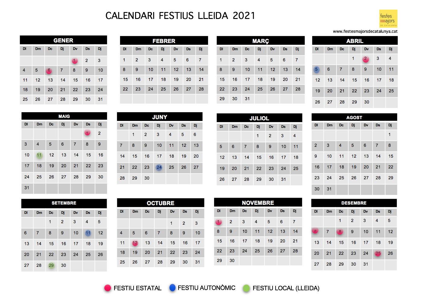 CALENDAR LLEIDA 2021