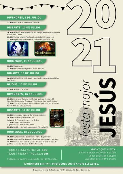 que fer aquest cap de setmana - que fer avui -festa major - festes majors de jesús 2021 - Agenda tarragona